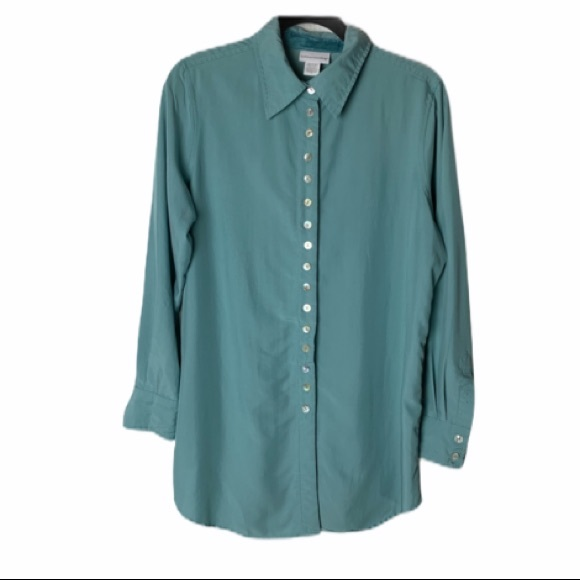 Soft Surroundings Tops - Soft Surroundings blue blouse velvet lined
